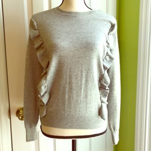 Women's Grey Ruffled Pull Over